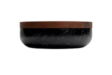 Load image into Gallery viewer, VVD pottery 30cm black marble 7cm high/ lid 3cm walnut