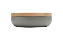 Load image into Gallery viewer, VVD pottery 30cm cool grey ceramic 7cm high / lid 3cm oak