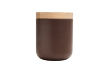 Load image into Gallery viewer, VVD pottery 15cm brown ceramic 17cm high/ lid 3cm oak