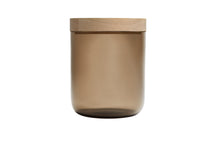 Load image into Gallery viewer, VVD pottery 15cm brown glass 17cm high/ lid 3cm oak