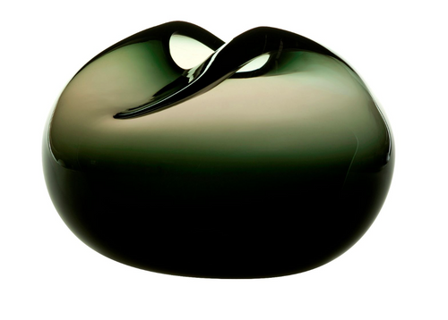 Pebble vase dark grey green