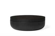 Load image into Gallery viewer, VVD pottery 30cm black ceramic 7cm high / lid 3cm black stained oak