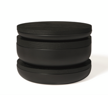 Load image into Gallery viewer, VVD pottery 30cm black ceramic 7cm high / lid 2cm black stained oak