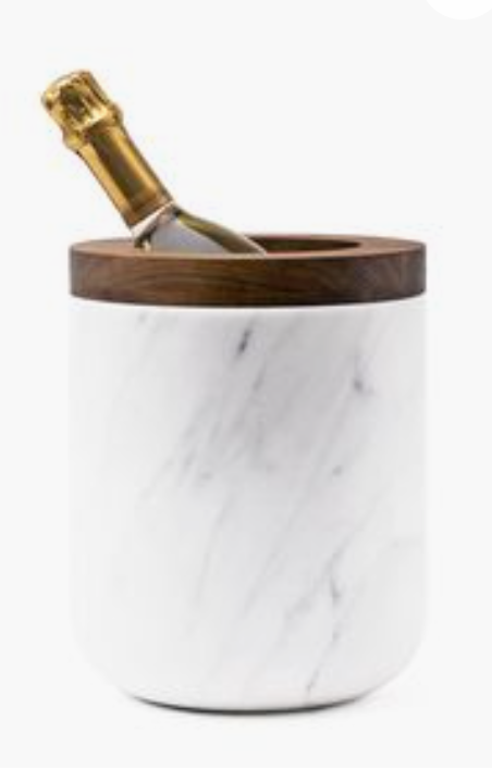 Ice bucket carrara marble with walnut top