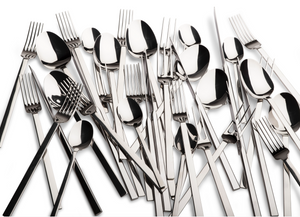 Cutlery with 3 prong fork / set of 4 x 6 pieces each