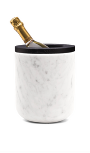 Ice bucket carrara marble with oak black varnished