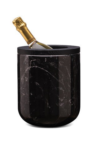 Ice bucket nero marquini marble with oak black varnished