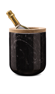 Ice bucket nero marquini marble with walnut