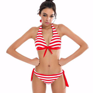 Women's Nautical Striped Tie Side Bikini Swimwear - Paradise Daze