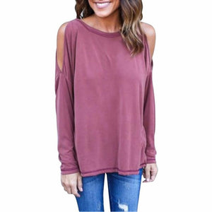 Cold Shoulder Long Sleeve Tee - Paradise Daze