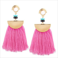 Pink & Aqua Marine Tassel Earrings - Paradise Daze