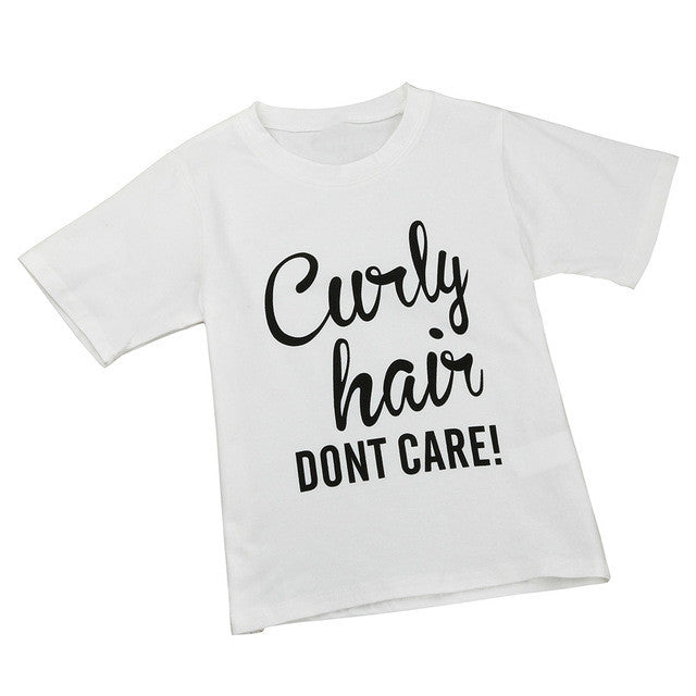 Kids Slogan Tee Curly Hair Don't Care