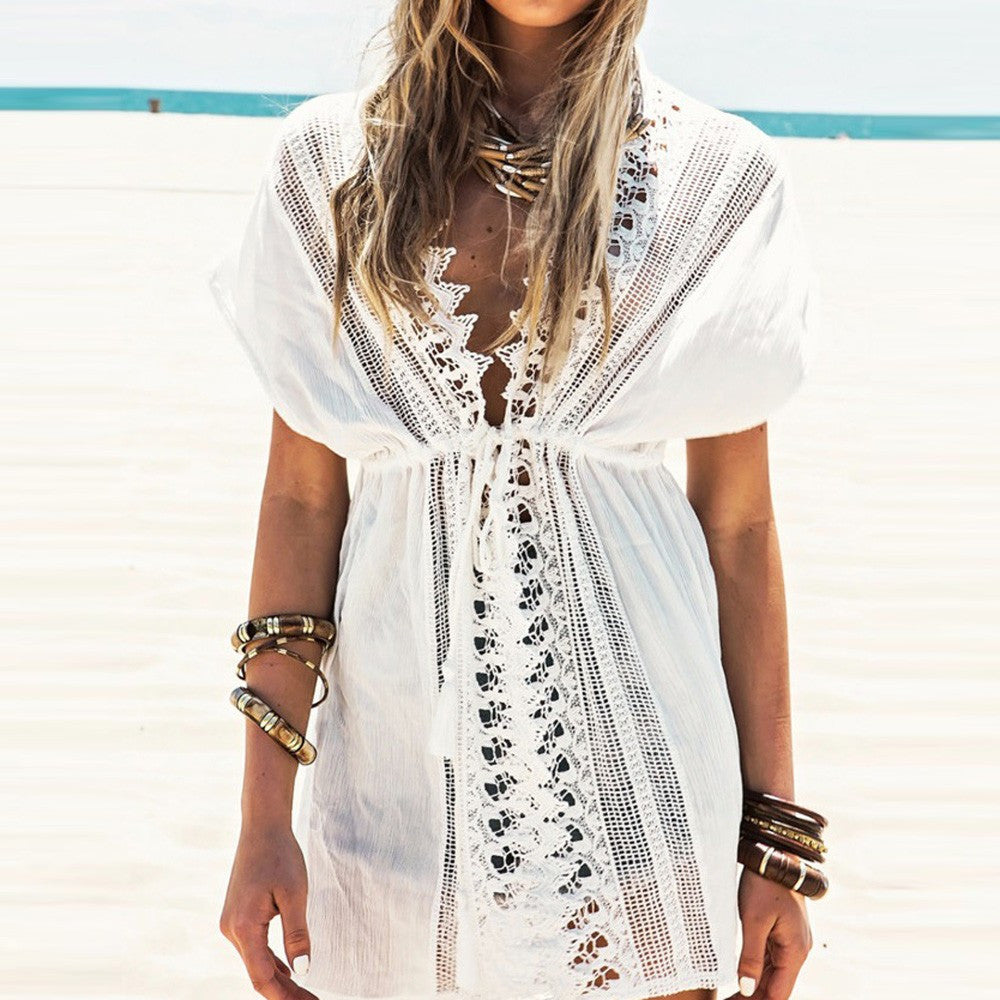 Sheer Lace & Crochet Tie Beach Cover Up - Paradise Daze