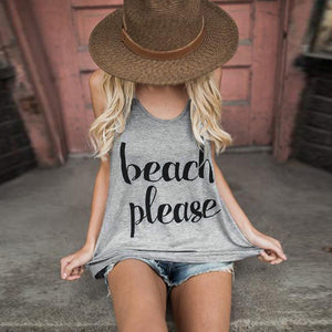Beach Please Slogan Vest - Paradise Daze