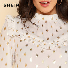 Ruffle Detail Gold Dot Print Blouse