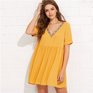 Elegant Embroidery Tape Neck Cuffed Smock Dress