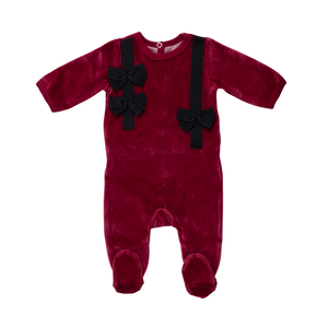 Burgundy Sweet Chic Bows Footie