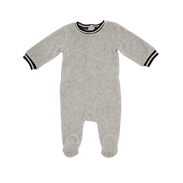 Light Grey Retro Sport Stripe Footie