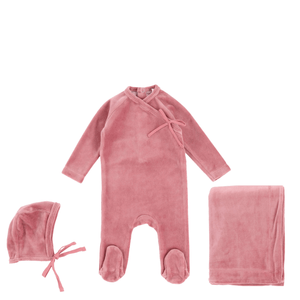 Rosy Mauve Velour Wrap Layette Set