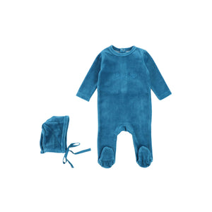 Indigo Velour Footie and Bonnet