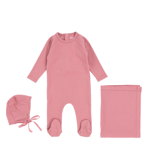 Mauve Ribbed Layette Set