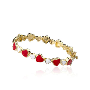 Little Miss Twin Star Red and White Heart Bangle