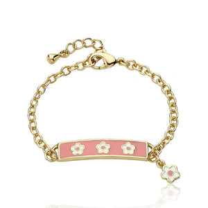Little Miss Twin Star Pink Flower Tag Chain Bracelet