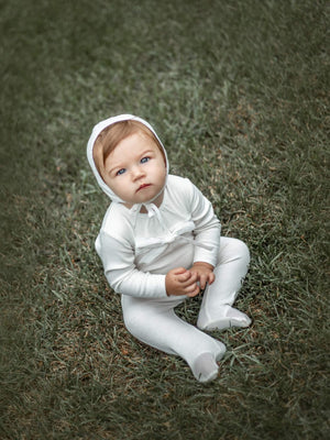 White Poplin Bow Footie and Bonnet