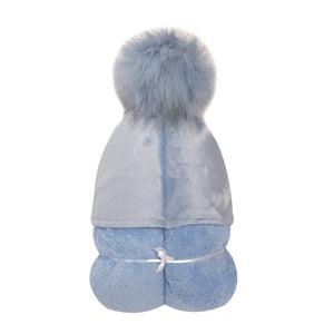Light Blue Pom Pom Hooded Towel