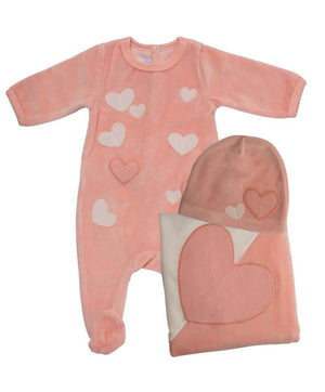Peach Hearts In The Air Layette Set