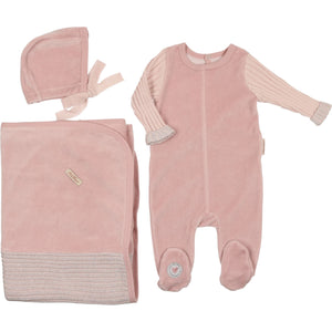 Light Rose French Trim Layette Set