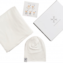 Natural White Beanie and Blanket Set