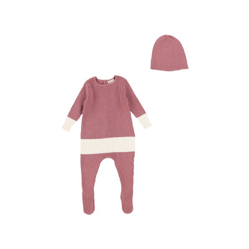 Mauve Knit Footie and Beanie