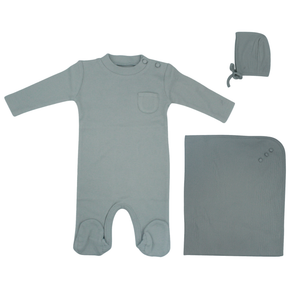 Pale Blue Button Layette Set