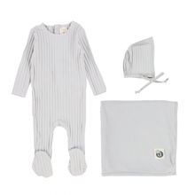 Grey Wide Ribbed Layette Set