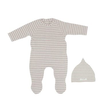 Blush Striped Footie and Bonnet