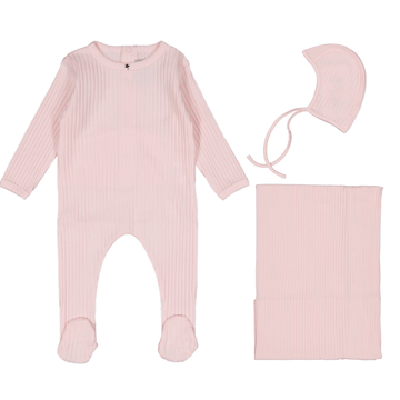 Light Pink Ribbed Layette Set