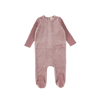 Lavender Velour Rib Sleeve Footie