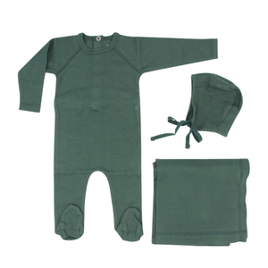 Green Ribbed Layette Set