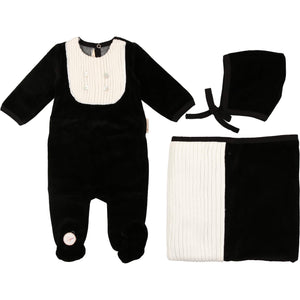 Black Euro Embellished Layette Set