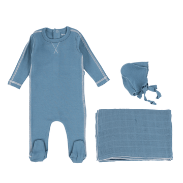 Teal Contrast Layette Set