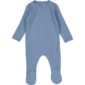 Blue Ribbed Layette Set