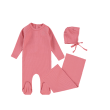 Strawberry Ribbed Layette Set