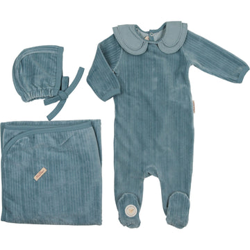 Slate Blue Tiered Collar Layette Set