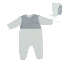 Grey Embroidery Overlay Footie and Bonnet