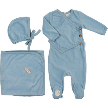 Dusty Blue Victorian Wrap Layette Set