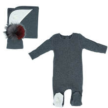 Charcoal Ribbed Layette Set