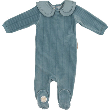 Slate Blue Tiered Collar Footie