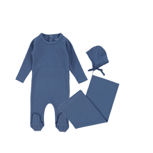 Denim Ribbed Layette Set