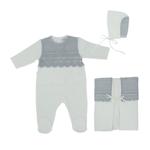 Grey Embroidery Overlay Layette Set